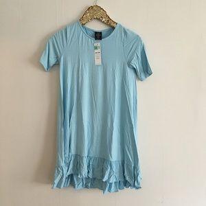 XXS aquamarine ruffle tunic